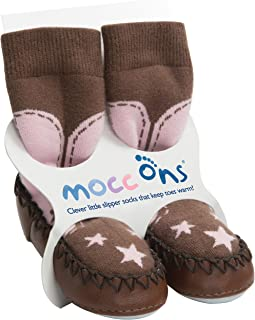Mocc Ons Cute Moccasin Style Slipper Socks, Cowgirl - 24-36 Months