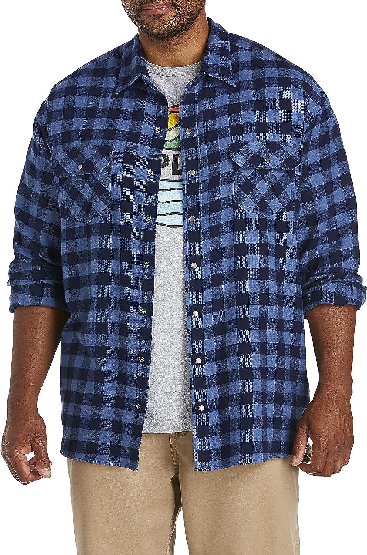 Harbor Bay by DXL Big and Tall Buffalo Plaid Flannel Sport Shirt, Blue