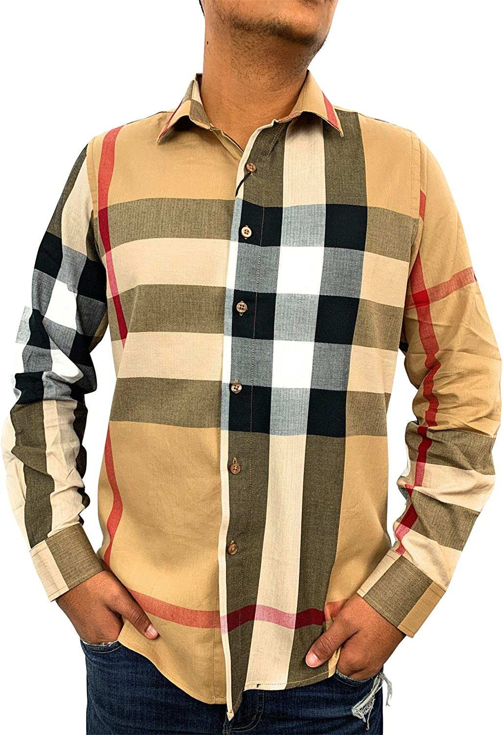 Bellagio Men's Long Sleeve Slim Fit Casual Plaid Dress Shirt Beige