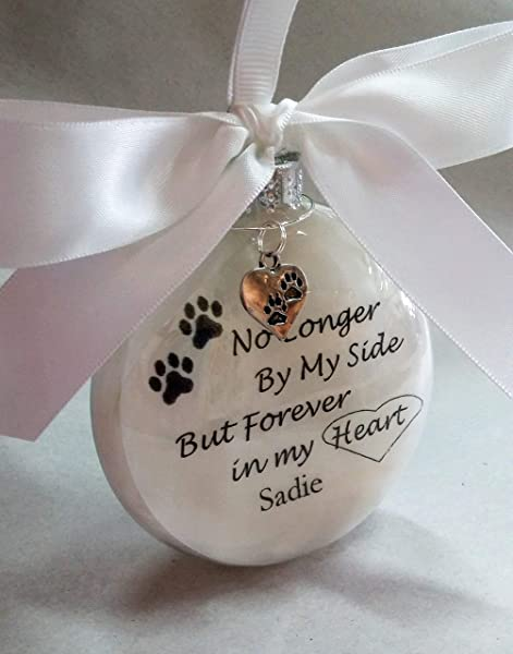 In Memory Pet Memorial Gift Christmas Ornament No Longer By My Side W Pawprint Charm