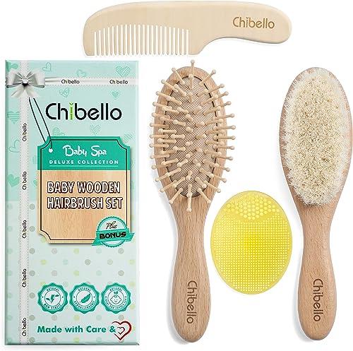 Chibello 4 Piece Wooden Baby Hair Brush and Comb Set Natural Goat Bristles Brush for Cradle Cap Treatment Wood Bristl...