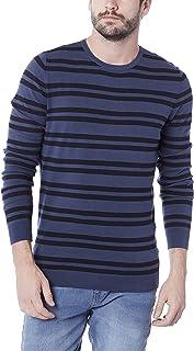 Suéter listrado em tricô de algodão, Hering, Masculino, ,