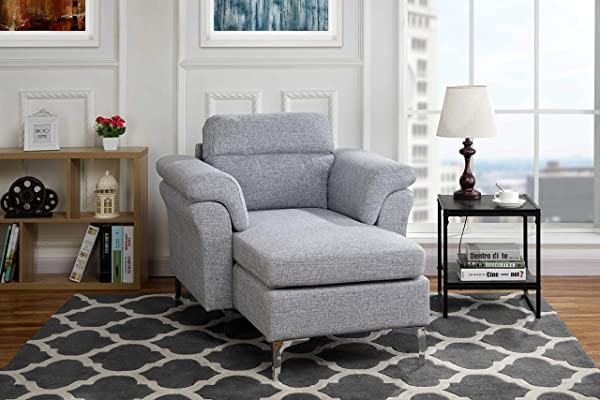 Modern Living Room Linen Fabric Chaise Lounge With Arm Rests Light Grey