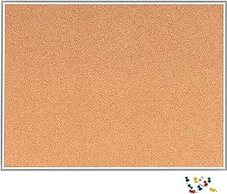 INNOVART Cork Board, Bulletin Board, 48 x 36 Inch, Aluminum Frame Corkboard with Push Pins (4'H x 3'W)