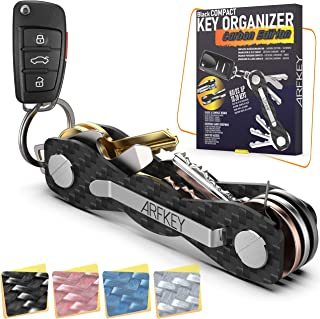 دارنده کلید فشرده فیبر کربن - Premium Heavy Duty Key Organizer تا 28 کلید -B0NUS دارنده Keychain Key با قطعه حلقه برای کمربند یا کلیدهای اتومبیل - سیم بازکن و بطری + دستورالعمل های ویدیویی (کربن سیاه)