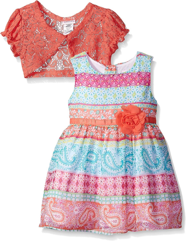Youngland Girls' Multi-Printed Chiffon Dress with Crochet Lace Cardigan