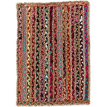Alfombra de Yute rectangular Multicolor Mexi, alfombra natural de fibra de yute y algodón tejida a mano con fundamentos de comercio justo - Alfombra natural, para cocina, dormitorio, pasillos (60, 40): Amazon.es: Hogar