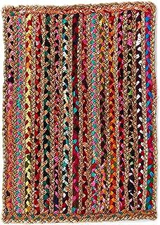 Alfombra de Yute rectangular Multicolor Mexi, alfombra natural de fibra de yute y algodón tejida a mano con fundamentos de comercio justo - Alfombra natural, para cocina, dormitorio, pasillos (90, 60)