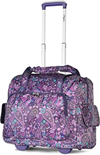 Deluxe Fashion Rolling Overnighter Travel Tote, Purple Paisley, One Size