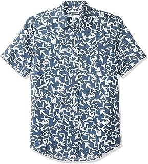 Men's Slim-Fit Short-Sleeve Linen Cotton Shirt