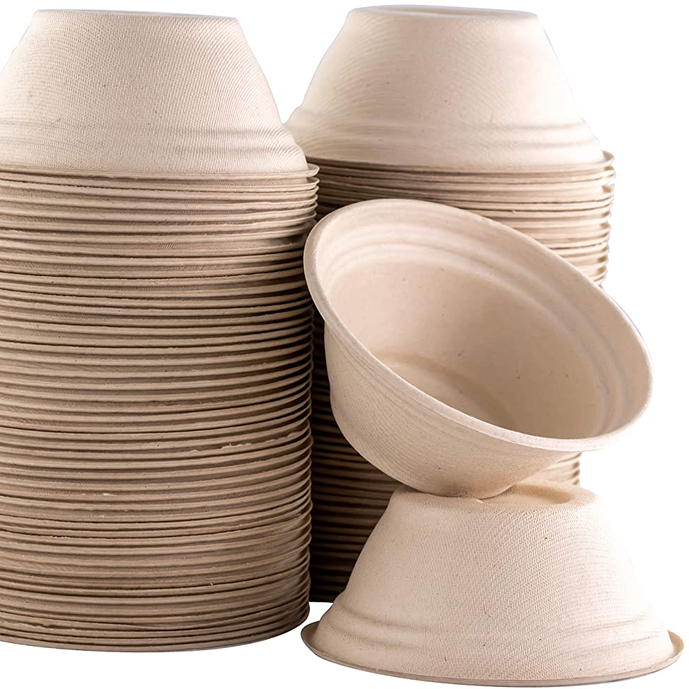 Restaurant-Grade, Biodegradable 8 Oz Bowls Bulk 200Pk. Great for Ice Cream, Chili or Soup. Disposable, Compostable Wheatstraw Bowls are Allergen-Free, Leakproof and Microwave Safe for Hot or Cold Use
