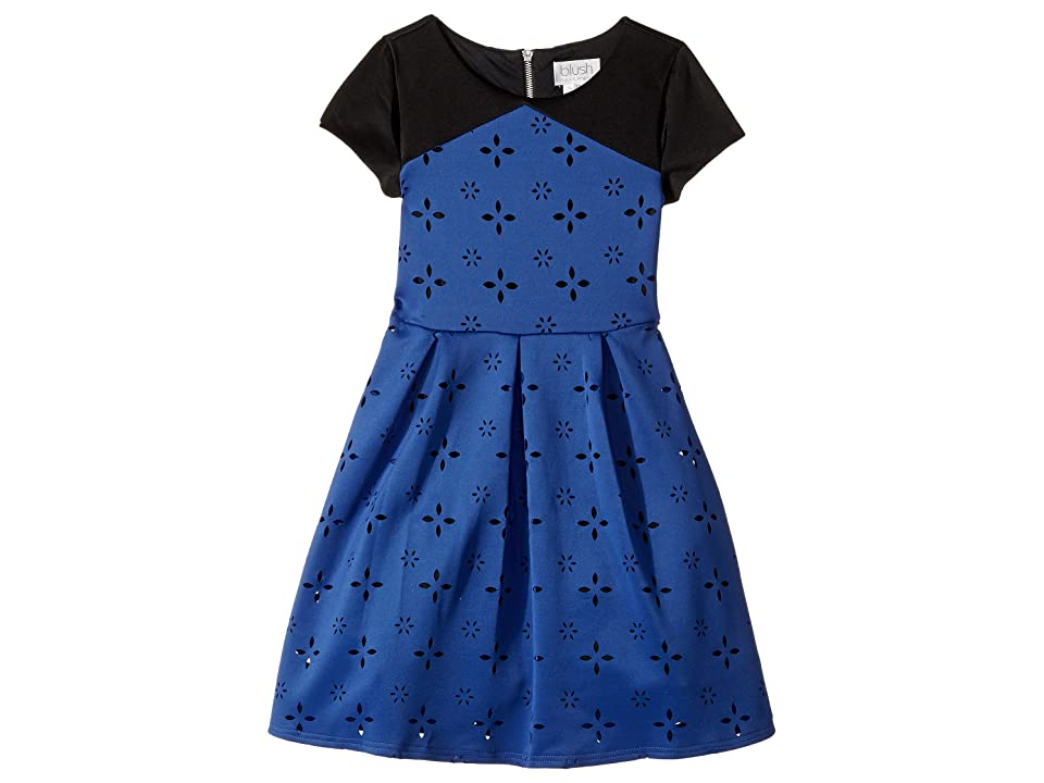 Us Angels Cap Sleeve Cut Out with A Full Skirt (Big Kids) (Sapphire) Girl