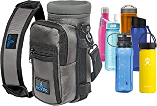 Water Bottle Holder Carrier - Bottle Cooler w/Adjustable Shoulder Strap and Front Pockets - Suitable for 16 oz to 25oz Bottles - Carry Protect & Insulate Your Thermos or Hydro Flask