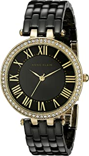 Anne Klein Women's AK/2130BKGB Swarovski Crystal Accented Gold-Tone and Black Ceramic Bracelet Watch
