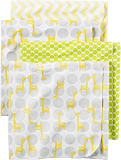 Carter's Baby One Size 4-Pack Flannel Receiving Blankets, Yellow Giraffe, One Size