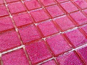 GTDE Helder glas mozaïek tegels patroon in donker roze met glitter. Bekleding voor muren (MT0018) (10cm x 10cm patroon)