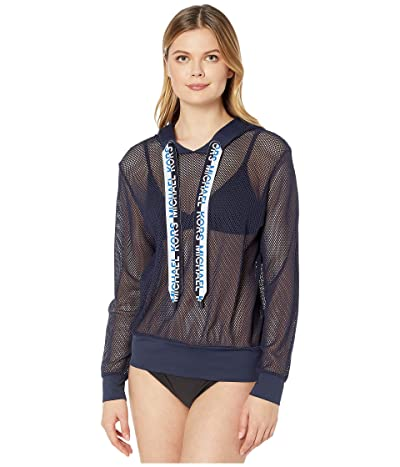 MICHAEL Michael Kors Solid Logo Cover-Up Mesh Hoodie Top with Logo Ties (New Navy) Women