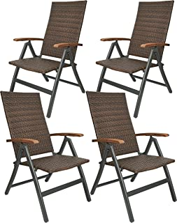 BRUBAKER Set de 4 Modena Sillas de Jardín Poli Ratán - Respaldo Alto Plegable - Respaldo Regulable en 7 Posiciones - Sillas Plegables Metal - Resistentes a la Intemperie - Gris/Marónn
