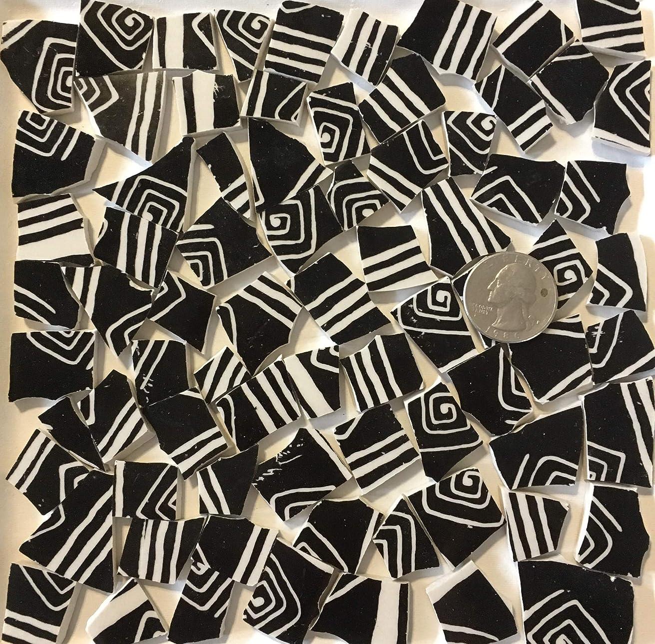 Mosaic Art & Craft Supply ~ Black & Cream Graphic Tiles (B159)