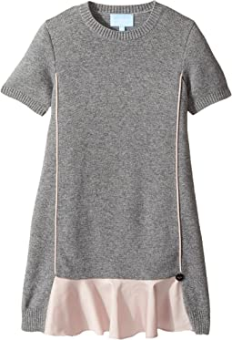 Lanvin Kids - Short Sleeve Knit Dress with Contrast Ruffles On Front (Little Kids/Big Kids)