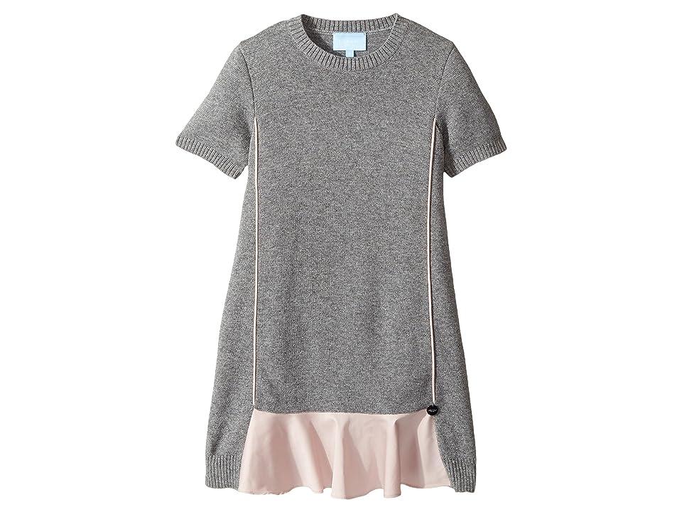 Lanvin Kids Short Sleeve Knit Dress with Contrast Ruffles On Front (Little Kids/Big Kids) (Grey/Pink) Girl
