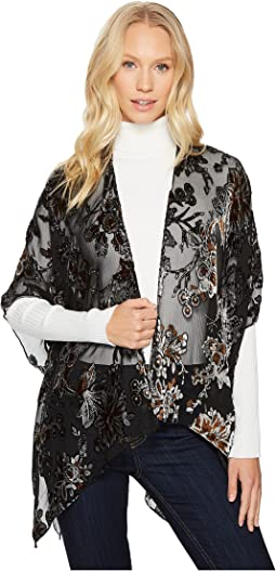 Bindya - Orange and Brown Floral Velvet Kimono