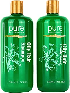 Oily Hair Shampoo & Conditioner Set for Oily Hair. Hair Strengthener & Itchy Scalp Shampoo Treatment. Natural Oily Hair Sh...