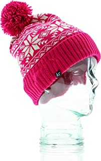 KitSound Audio Beanie with Pom Pom for iPod, iPhone, iPad and MP3 Player - Pink Fair Isle