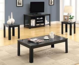 Monarch Specialties Marble-Look Top 3-Piece Table Set, Black/Grey