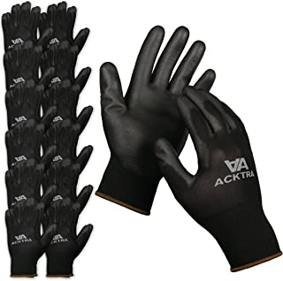 ACKTRA Ultra-Thin Polyurethane (PU) Coated Nylon Safety WORK GLOVES 12 Pairs, Knit Wrist Cuff, for Precision Work, for Men & Women, WG002 Black Polyester, Black Polyurethane, Medium