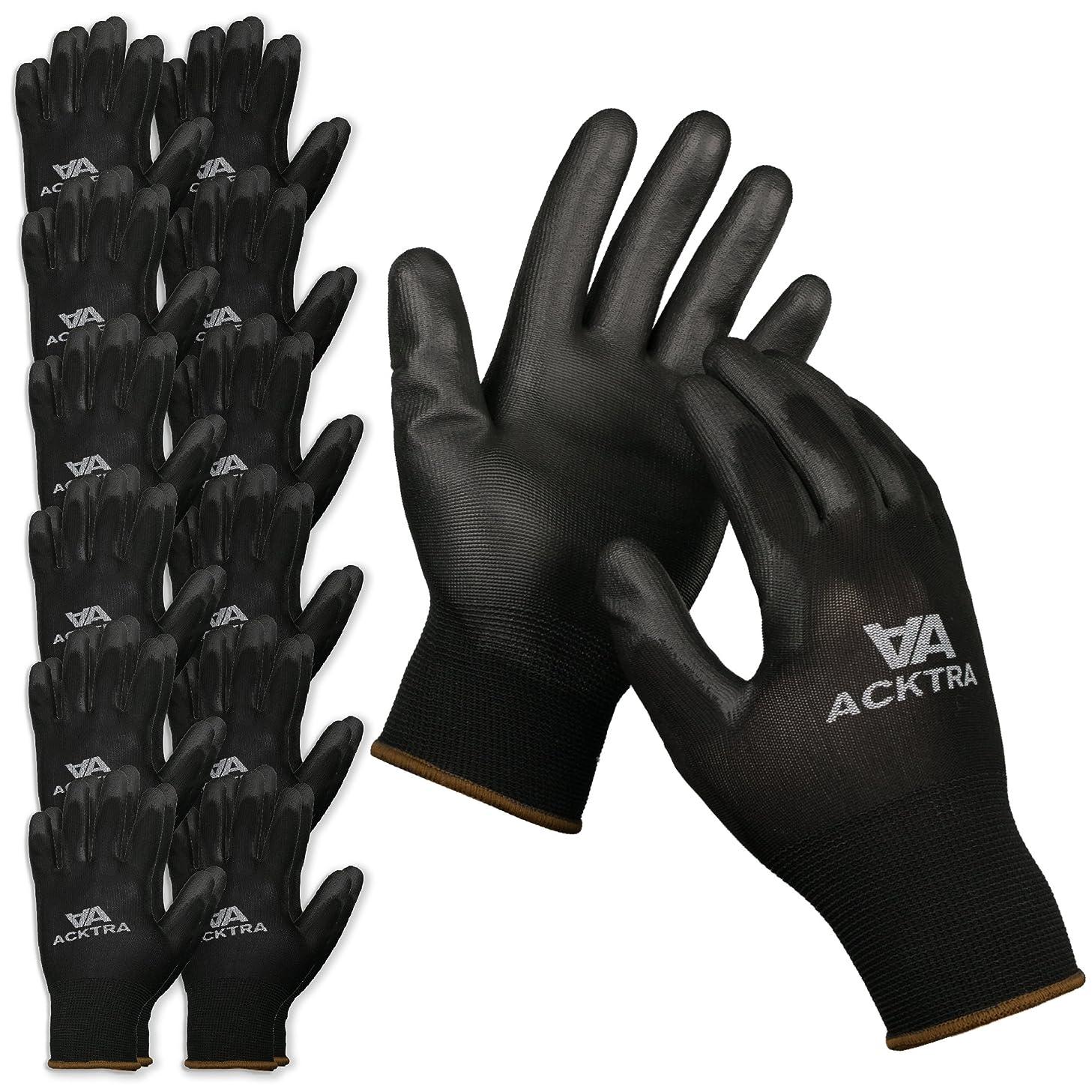 ACKTRA Ultra-Thin Polyurethane (PU) Coated Nylon Safety WORK GLOVES 12 Pairs, Knit Wrist Cuff, for Precision Work, for Men & Women, WG002 Black Medium