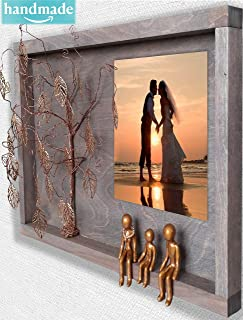 Handmade 3-Figurines 8th 19th Bronze Anniversary Picture Frame Collage forWall Charmers 8 19 21 Year Wedding Willow Family Tree Gift Wife Husband Men Her Mom Son Mother Personalized Gift OP-B-3-R