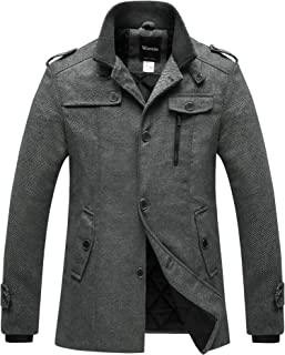 Wantdo Mens Wool Blend Pea Coat Single Breasted Thicken Warm Military Peacoat Jacket