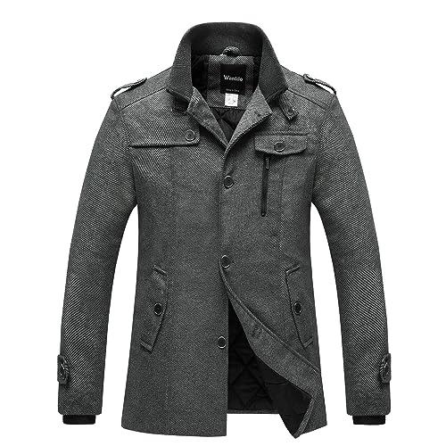 e8a0691769aa Wantdo Men s Wool Blend Pea Coat Single Breasted Thicken Warm Military  Peacoat Jacket