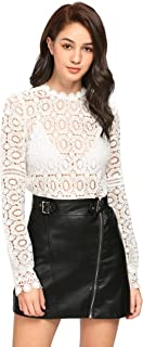 SheIn Women's Sexy Lace See Through Blouse Long Sleeve Mock Neck Top