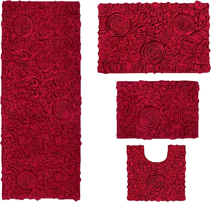 Home Weavers Bell Flower Collection Absorbent Cotton Soft Rug Machine Wash Dry 17 X24 21 X34 20 X20 21 X54 Red Home Kitchen