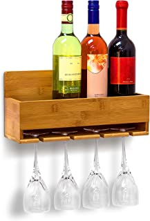 Relájese días 10019144 estante del vino con Glass Wine Rack Holder de bambú, 17 x 37 x 11,5 cm, colour blanco y negro-marrón