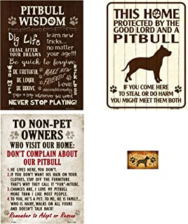Smart Blonde Signs Bundle: Metal Pitbull Signs - Pitbull Wisdom, This Home Protected By a Pitbull, Don't Complain About Our Pitbull and Pitbull Magnet