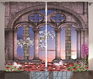 Ambesonne Gothic Curtains, Colonnade in Secret Garden with Flowers at Sunset Enchanted Forest, Living Room Bedroom Window Drapes 2 Panel Set, 108