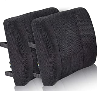 Viteps 'Lumbar Support Back Cushion Pillow Work Chair Back Support,Wheelchair Cushion with Straps, Sciatica and Pain Relief (Black, 2)
