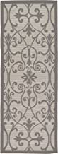 Unique Loom Outdoor Botanical Collection Traditional Border Transitional Indoor and Outdoor Flatweave Gray Runner Rug (2' 2 x 6' 0)