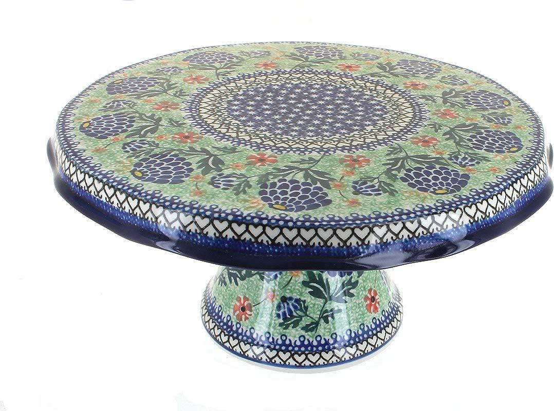 Blue Rose Polish Pottery Sofia Cake Plate