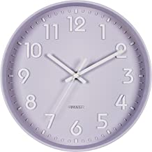 Bernhard Products Purple Wall Clock 10 Inch, Silent Non-Ticking, Quality Quartz 3D Numbers Battery Operated Round Pretty C...