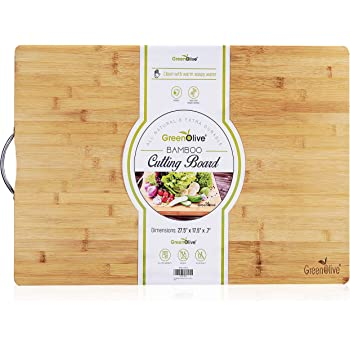 """GreenOlive Extra Large Bamboo Cutting Board for Kitchen 27.5""""x17.5""""- Butcher Block - Wood Cutting Board with Handle for Cheese, Meat - Extra Large Charcuterie Chopping Board, Durable & Water Resistant"""