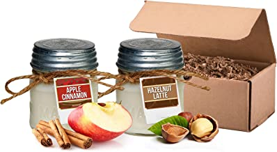 Aira Soy Candles - Organic, Kosher, Vegan in Mason Jar w/Therapeutic Grade Essential Oils - Hand-poured 100% Soy Candle Wax - Paraffin Free - Gift Set - Apple Cinnamon & Hazelnut Latte - 8 Ounce x 2