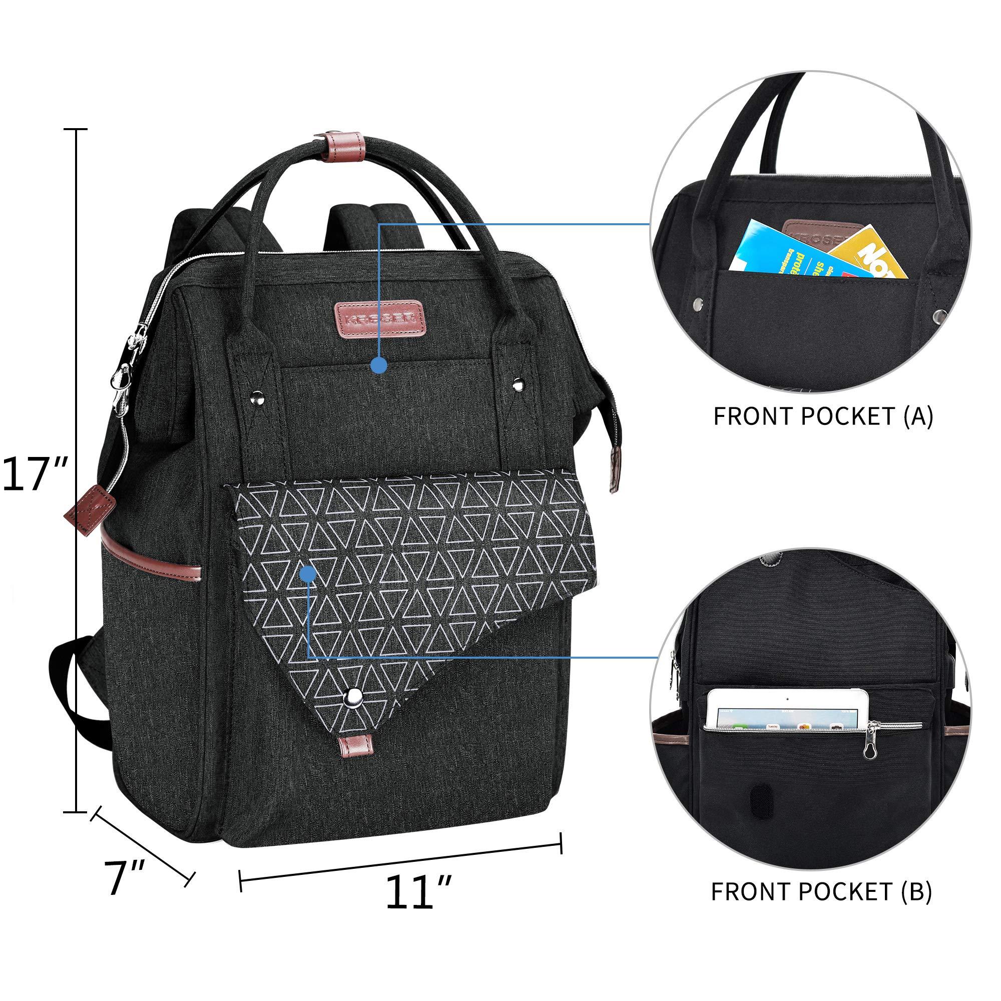 KROSER Laptop Backpack 15.6 Inch Stylish School Computer Backpack with USB Charging Port Water-repellent College Daypack Travel Business Work Bag for Women/Men-Black