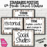 6th Grade Social Studies Standards Posters | FARMHOUSE Theme