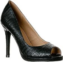 Riverberry Women's Julia Slight Platform Open Toe High Heel Pumps