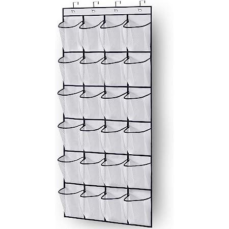 MISSLO Over The Door Shoe Organizer 24 Large Mesh Pockets, White