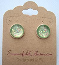 Silver-Tone Seafoam Iridescent Glitter Glass Stud Earrings 1/2